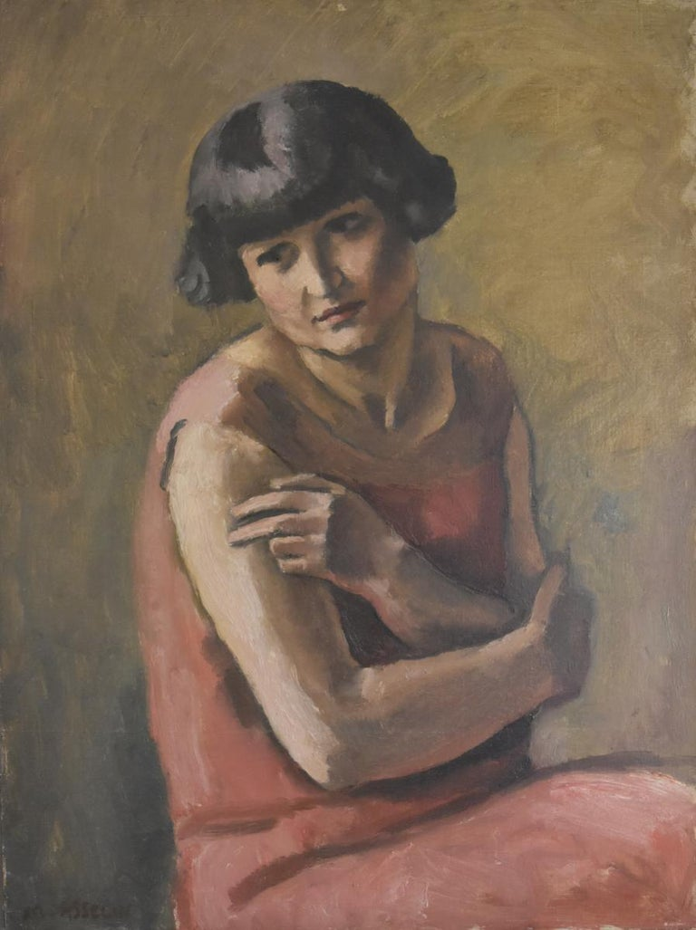 Maurice Asselin (1882-1947) Portrait of a Lady in red, oil on canvas - Painting by Maurice Asselin
