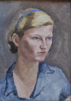 Maurice Asselin (1882-1947) Portrait of young woman in blue, oil on canvas