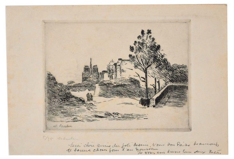 Maurice Asselin Landscape Print - Landscape with Figures - Original Etching by M. Asselin - Early 20th Century