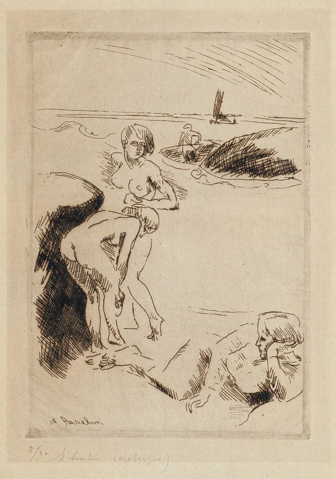 Swimmers - Original Etching by M. Asselin - Early 20th Century