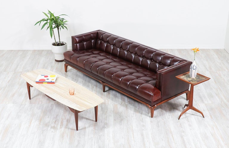 American Maurice Bailey Biscuit-Tufted Leather Sofa for Monteverdi-Young For Sale
