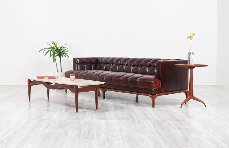 Maurice Bailey Biscuit-Tufted Leather Sofa for Monteverdi-Young In Excellent Condition For Sale In Los Angeles, CA