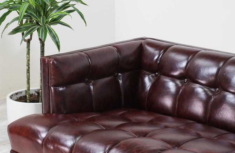 Maurice Bailey Biscuit-Tufted Leather Sofa for Monteverdi-Young For Sale 1