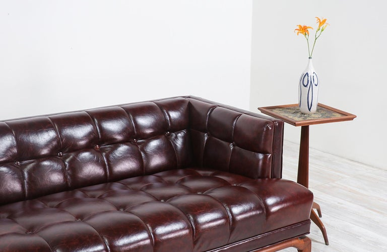 Maurice Bailey Biscuit-Tufted Leather Sofa for Monteverdi-Young For Sale 2