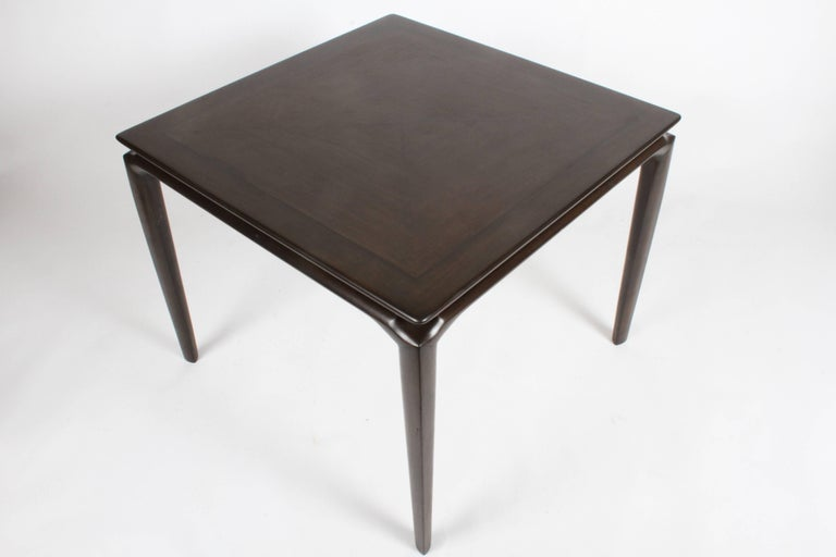 Midcentury sculptural Maurice Bailey for Monteverdi, Young of California card, game table or kitchen table. Beautiful sculpted legs, gives a floating effect to the top. Top has edge border and inlaid veneer, Very nice original finish, minor scuffs /