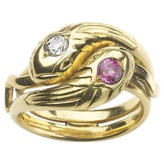 Maurice Beck French Art Nouveau Ruby and Diamond Snake Ring