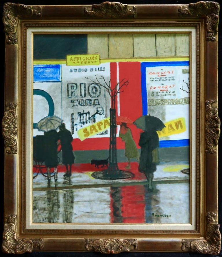 Pluie a Paris - Modern Oil, Figures in Rainy Parisian Landscape by M Brianchon - Painting by Maurice Brianchon