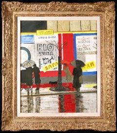 Pluie a Paris - Modern Oil, Figures in Rainy Parisian Landscape by M Brianchon