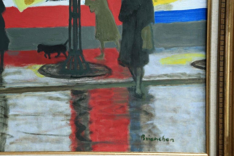 Pluie a Paris - Modern Oil, Figures in Rainy Parisian Landscape by M Brianchon For Sale 1