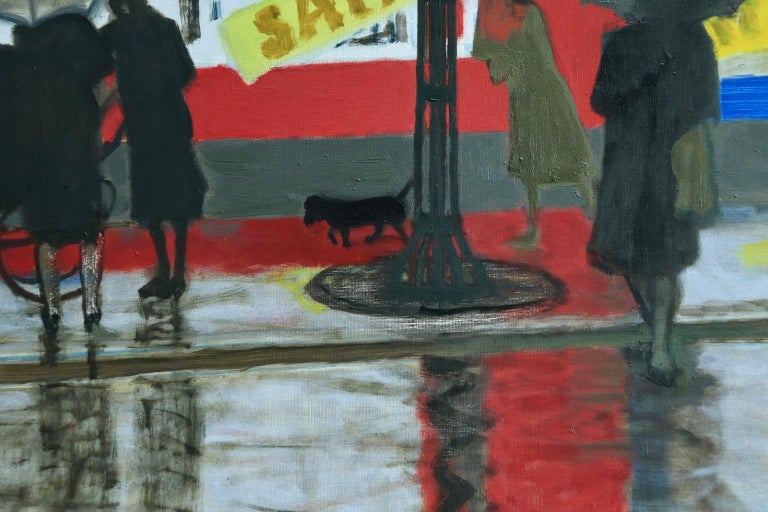 Pluie a Paris - Modern Oil, Figures in Rainy Parisian Landscape by M Brianchon For Sale 2