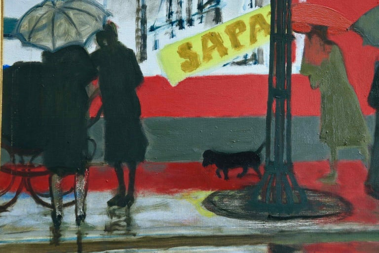 Pluie a Paris - Modern Oil, Figures in Rainy Parisian Landscape by M Brianchon For Sale 3