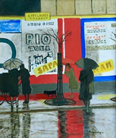Pluie a Paris - Modern Oil, Figures in Rainy Parisian Landscape by M Brianchon