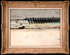 The Beach Soorts-Hossegor - Modern Oil, Coastal Landscape by Maurice Brianchon