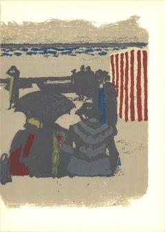 1964 Maurice Brianchon 'Saint-Jean-de-Luz, La Plage (Lg)' Modernism Gray,Brown,R
