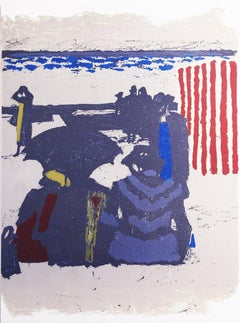 1964 Maurice Brianchon 'Saint-Jean-de-Luz, La Plage' Modernism Multicolor,Purple