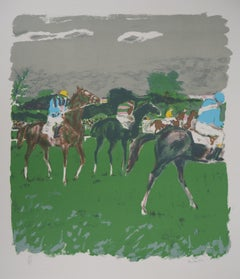 Horses, Before the Race - Original lithograph, Handsigned