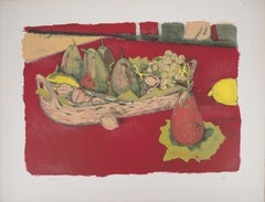 Still Life with Pears and Grappes - Original lithograph, Handsigned