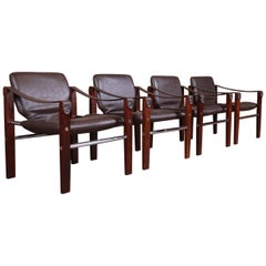 Maurice Burke for Pozza Mahogany and Leather Safari Chairs, Set of Four