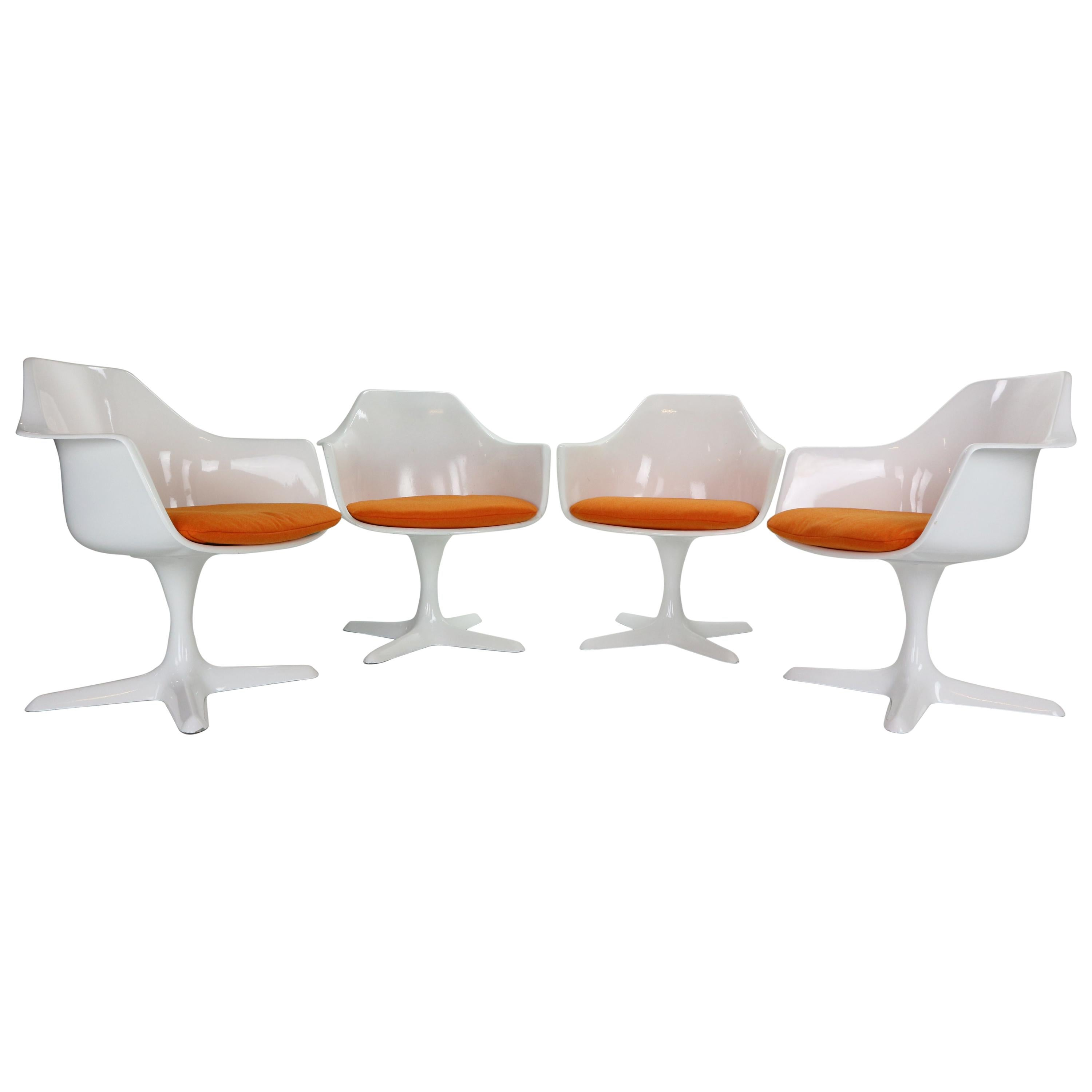 Maurice Burke Set of 4 Lounge Chairs Model No. 116 for Arkana, Space Age 1960's