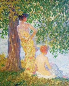 'Bathers' Impressionist Figurative Landscape from the early 20th Century