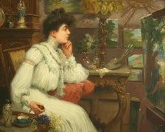 L'Élegante dans l'Atelier, MAURICE CHABAS - Symbolism, Portrait, Romantic, Oil