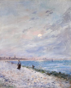 Normany Beach at Night - Impressionist Oil, Coastal Landscape by Maurice Courant