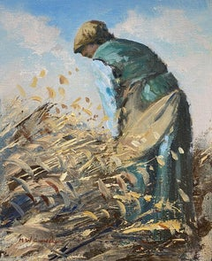 Maurice Crawshaw (b.1947) Signed Impressionist Oil - Lady In Blue Harvesting