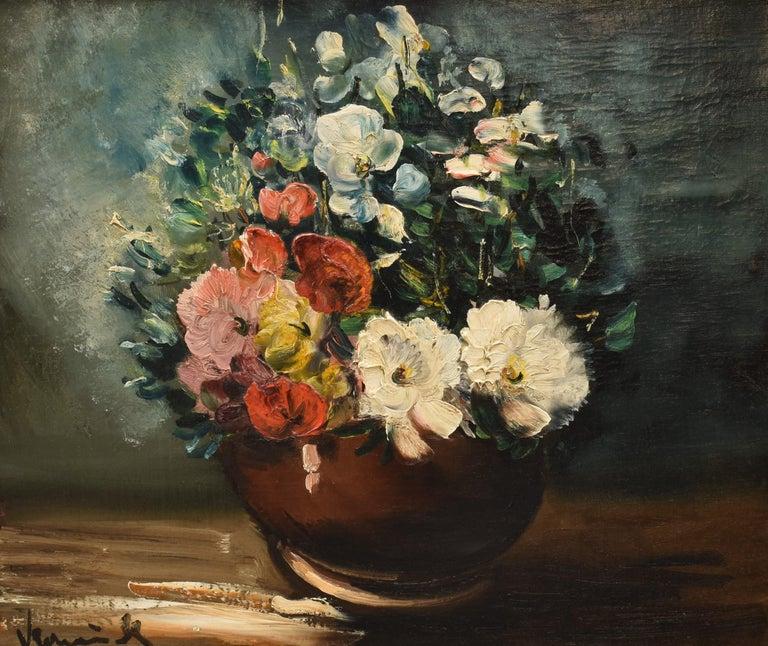 Maurice de Vlaminck Still-Life Painting - Vase des fleurs - French Fauvism Artist Oil Canvas Flowers Still-life