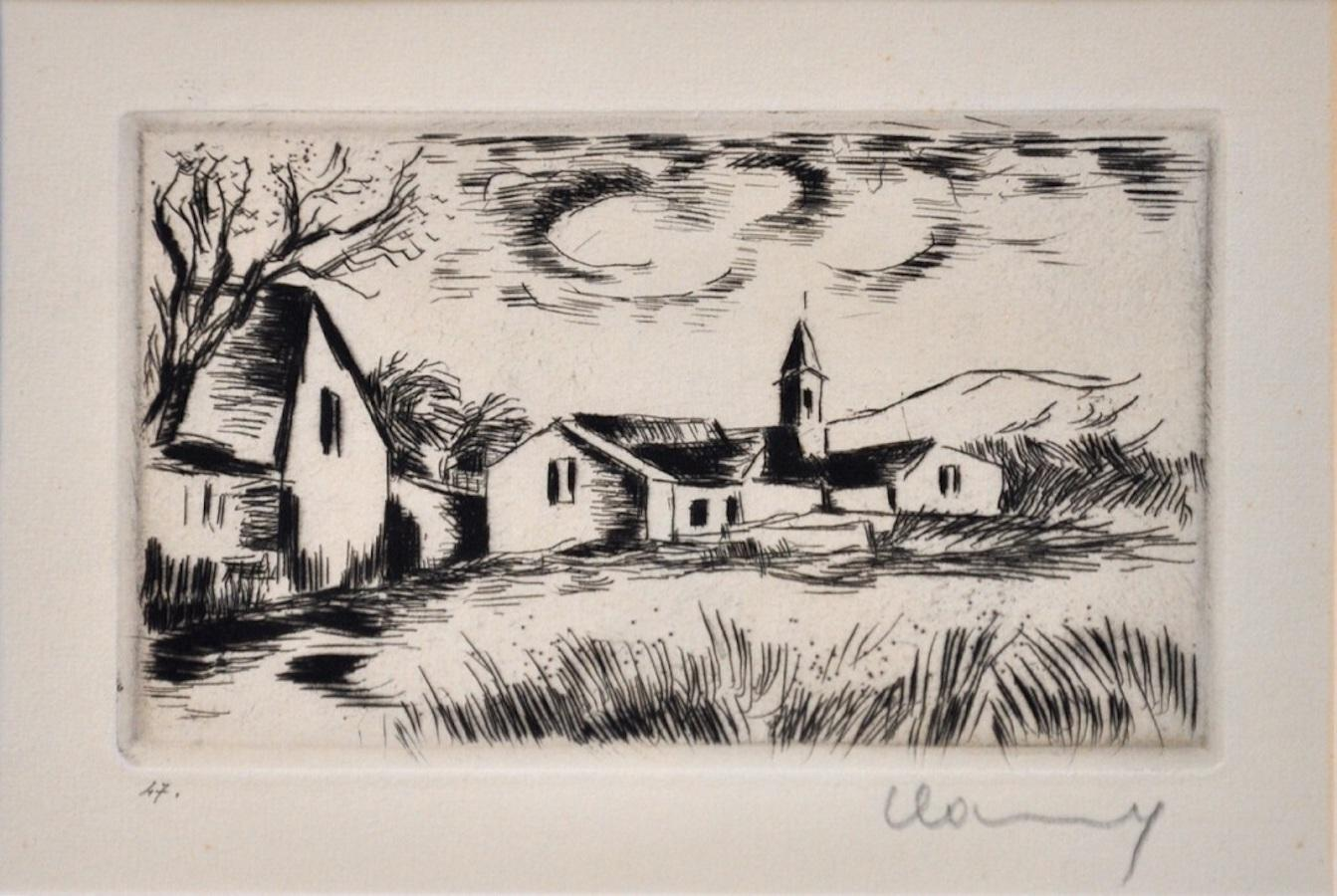 Landscape with Bell Tower - Original Etching by M. de Vlaminck - 1930s