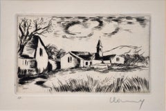 Landscape with Bell Tower - Original Etching by M. de Vlaminck - 1930s