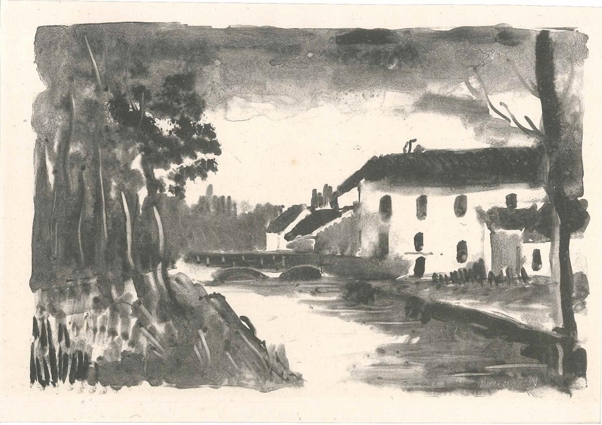 Le Moulin de La Naze - Original lithograph by M. de Vlaminck - 1925-26