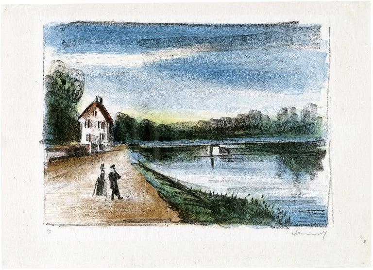 Le Pont sur l'Oise à Méry (The Bridge Over the Oise at Méry) - Print by Maurice de Vlaminck