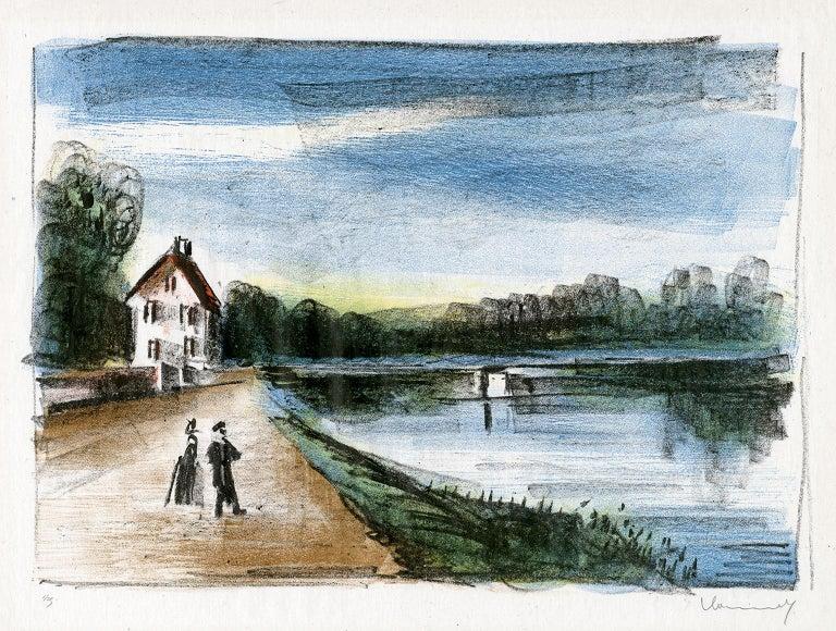 Maurice de Vlaminck Landscape Print - Le Pont sur l'Oise à Méry (The Bridge Over the Oise at Méry)
