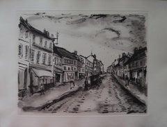 Main Street of a Traditional French Village - Original etching