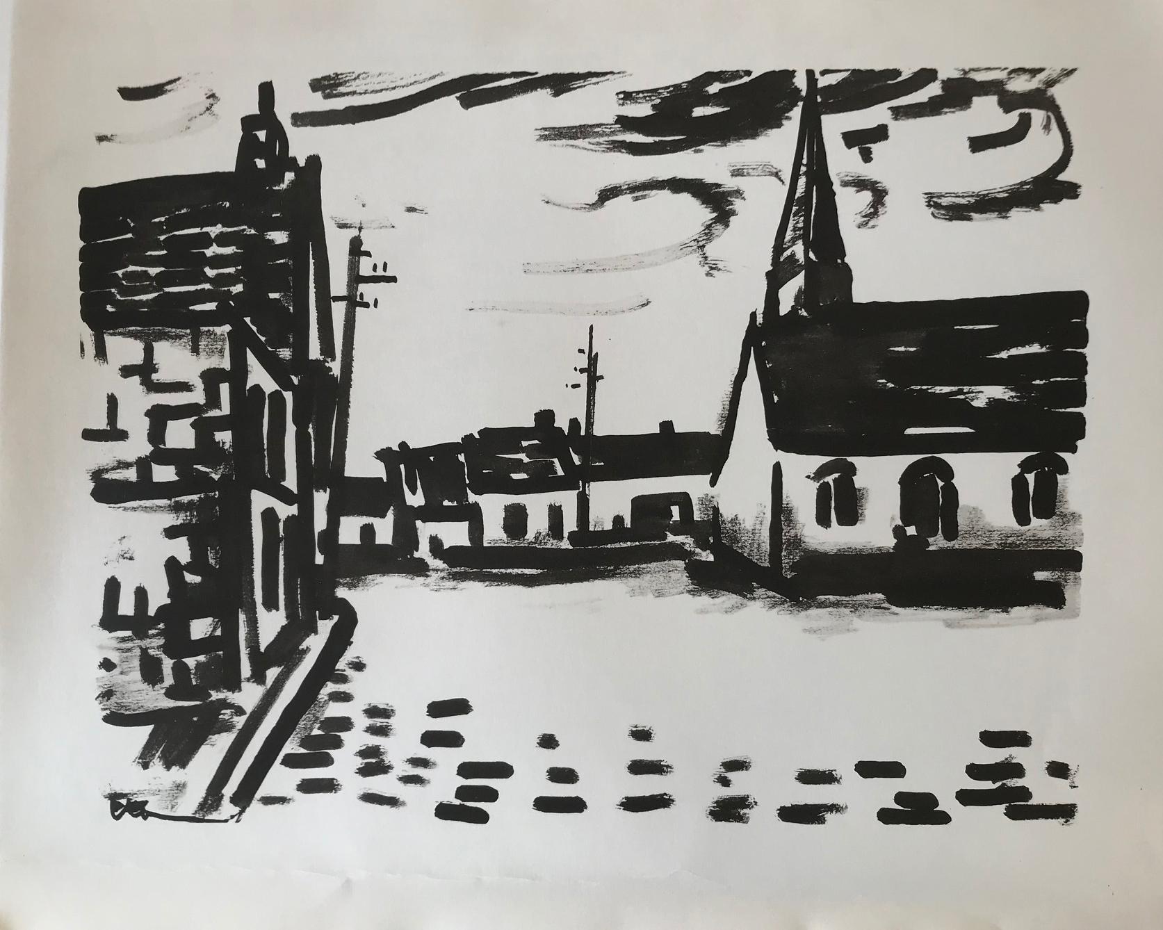 Place de L'Eglise ( A Lithograph from Notre Pain Quotidien)