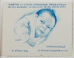 """Emmanuelle,"" Original Lithograph Printed in Blue signed by Maurice Denis"