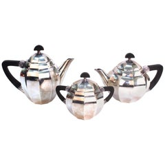 Maurice Dufrêne For Gallia French Art Deco Tea Set, Silver Plated