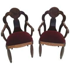 Maurice Dufrene, Pair of Walnut Burl and Amaranth Wood Armchairs, circa 1925