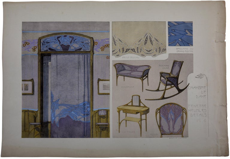 Lady's Room, Set of 4 Lithographs, 1906 - Art Nouveau Print by Maurice Dufrène