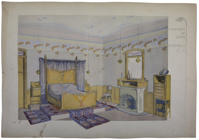 Maurice Dufrène Interior Print - Lady's Room, Set of 4 Lithographs, 1906