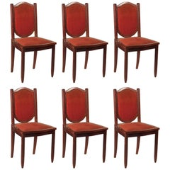 Maurice Dufrene Set of 6 Dining Chairs in Purple Heart