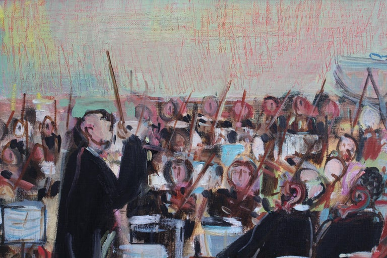 'The Orchestra', oil on canvas, by Maurice Empi (1990). Empi's paintings are colourful, uplifting and even inspiring. This one is no exception. A French orchestra is led by their accomplished conductor who unifies the performers, sets the tempo,