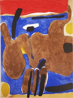 1964 Maurice Esteve 'Composition' Expressionism Multicolor,Yellow,White,Black