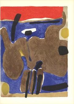 1964 Maurice Esteve 'Composition (Lg)' Expressionism Multicolor,Blue,Red,Brown F