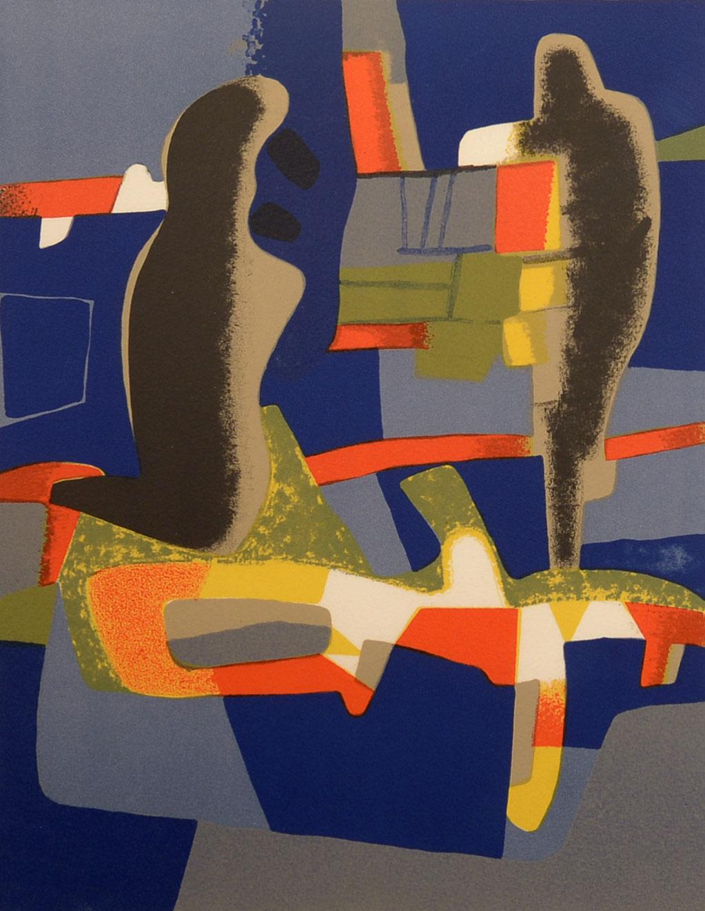 """""""Abstraction,"""" Maurice Estève, lithograph, french, abstract art, ca 1950-60"""