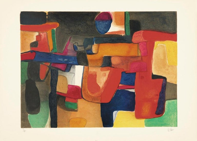 Maurice Estève Abstract Print - Amanda - 20 Century, Abstract Art, Warm and Colorful, Biomorphic Forms, Paris