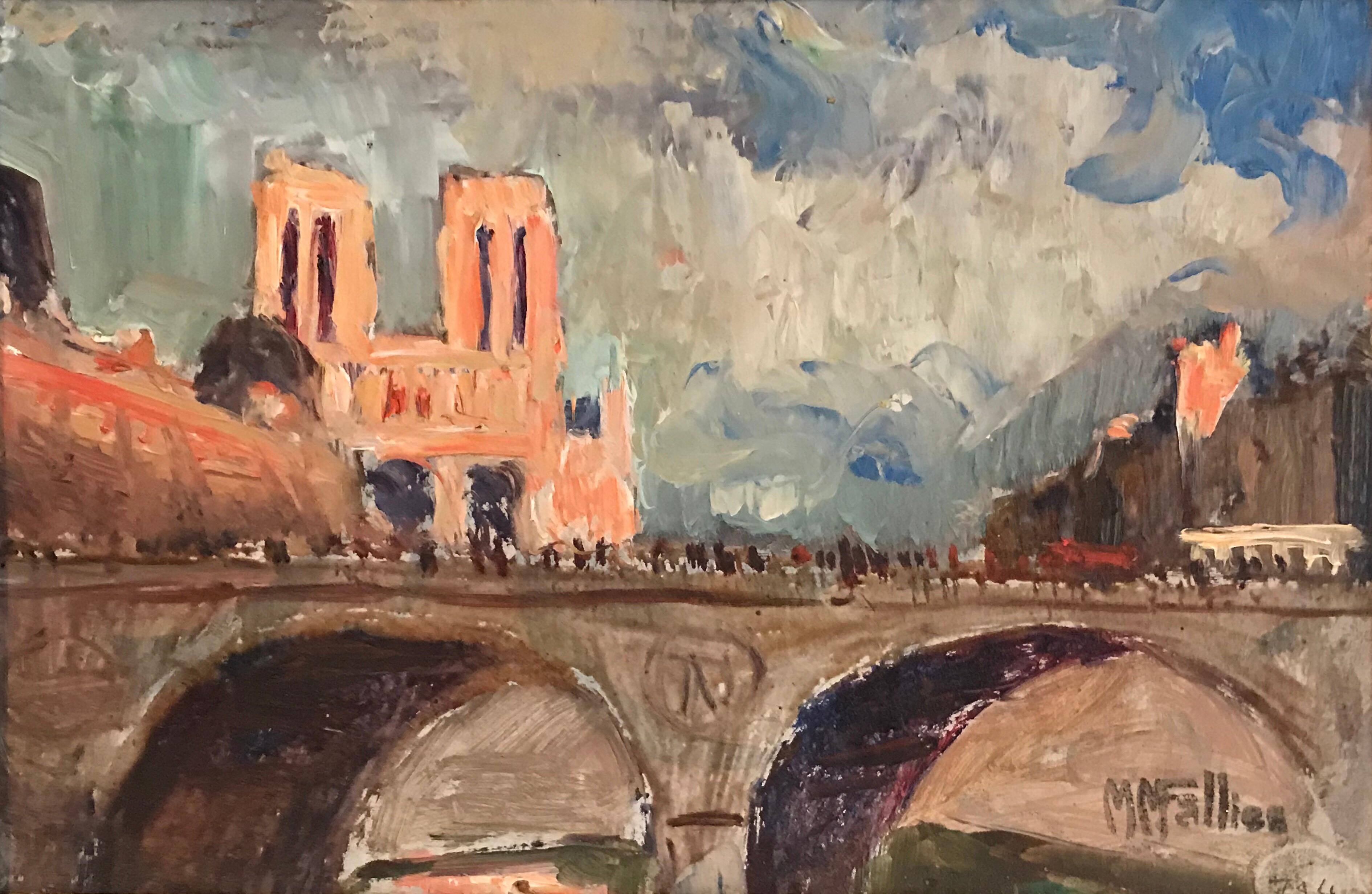 Notre Dame Paris Signed French Impressionist Mid 20th Century Oil Painting