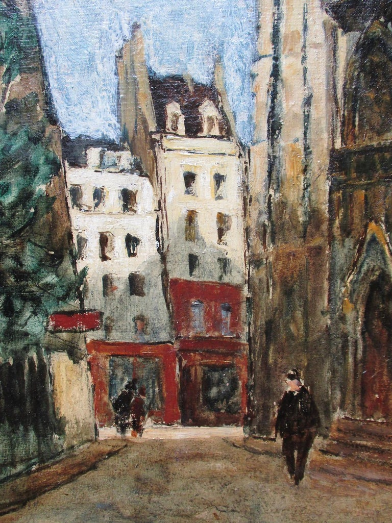 Paris, the Latin Quarter - Gray Figurative Painting by Maurice Falliès