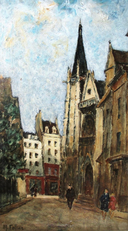 Maurice Falliès Figurative Painting - Paris, the Latin Quarter