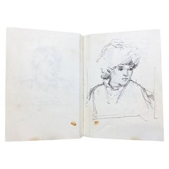 Maurice Feild Two Original Vintage Sketchbooks with Than 240 Sketches, 1970s